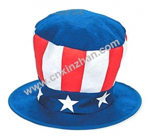 China Halloween Cap Plush Costume Designs Red White Stars Ox Horn Witch Wizard Hat On Sale on sale