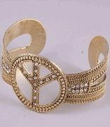 China Jewelry Close Outs Antique Gold Peace Sign Cuff Bracelet with Rhinestones on sale