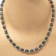 China Hematite Jewelry Unisex Hematite Barrel Bead Necklace on sale