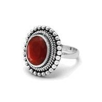 Oxidized Oval Faceted Rough-Cut Ruby Design Ring