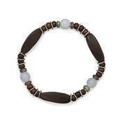 China Semi-Precious Gemstone Jewelry Wood, Chalcedony, and Crystal Stretch Bracelet on sale