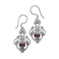 China Semi-Precious Gemstone Jewelry Oxidized Ornate Garnet Earrings on sale