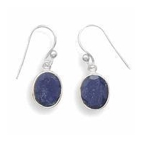 Semi-Precious Gemstone Jewelry Oval Faceted Rough-Cut Sapphire Earrings