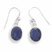 China Semi-Precious Gemstone Jewelry Oval Faceted Rough-Cut Sapphire Earrings on sale