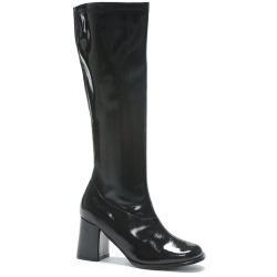China Adult Black Patent Knee-High Gogo Costume Boots, Size: 10 on sale