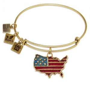 China Bracelets Stars and Stripes Flag Charm Bangle in Gold on sale