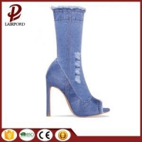 China high heel ankle denim jean booties sandals on sale