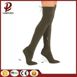 China armygreen chunky heel over knee ladies boots on sale