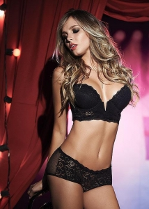China Mapale Plunge Front Lace Bra and Brief Two Piece Set on sale