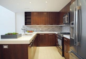 China Wood Veneer Kitchen Cabinets GHWVK-017 on sale
