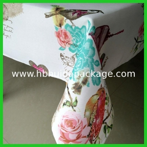 China Spring designs polyester woven fabrics tablecloths with nice scenery of bird butterfly flowers on sale