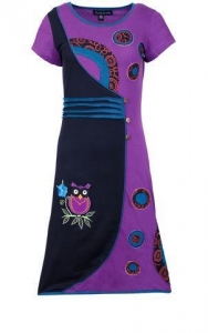 China Multicolored Floral & Owl Patch & Embroidery Dress. on sale
