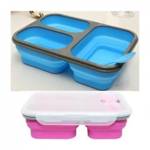 China 600ml+250ml+250ml silicone folding lunch box on sale