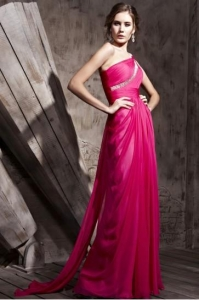 China Prom Dresses Glamorous Couture Bright Pink One Shoulder Prom Dress - 3810994 on sale
