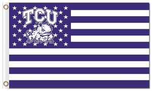China NCAA Texas Christian Horned Frogs 3'x5' polyester flags star with stripes on sale