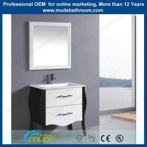 China wooden legs pedestal ceramic basin standing bathroom mirror cabinet on sale