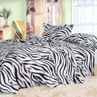 China Black And White Black Zebra Print Bedding Set on sale