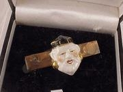 China Vintage 1948, Ceramic Oriental Asian Face Tiebar Tie Bar on a Genuine Copper Setting on sale