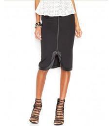 China 2015 women classic faux-leather trim asymmetrical hem pencil skirt hsd3012 on sale