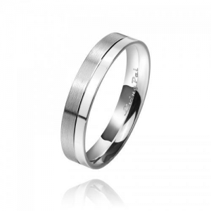 China Brushed & Polished Finish Platinum Plated Sterling Silver Bridegroom Ring Wedding Bands (Gent) on sale
