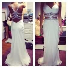 China White Long Chiffon Prom Dresses Crystals Women Dresses Long Party Dresses 2016 on sale