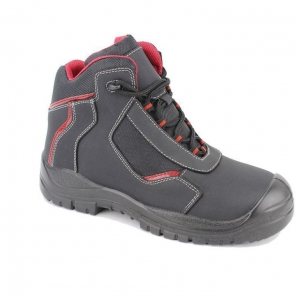 China Black Lace Up Split Nubuck Leather Upper Mens Work Shoes and Boots with Steel Toe on sale