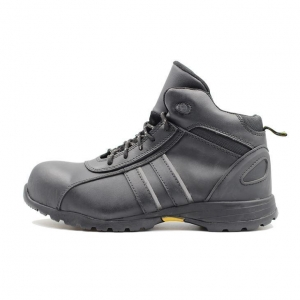 China Split Smooth Leather Upper PU + Rubber Outsole Waterproof Steel Toe Work Boots on sale