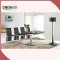 China UK Standard Hot Sale Colorful Shiny Red and Black Dining Table for Dining Room Middle Extension on sale