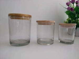 China clear glass candle jars with wooden lids/bases on sale