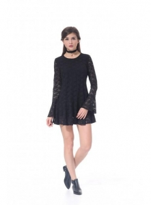 China 2017 Women Sexy Long sleeves Lace Casual Dress New on sale