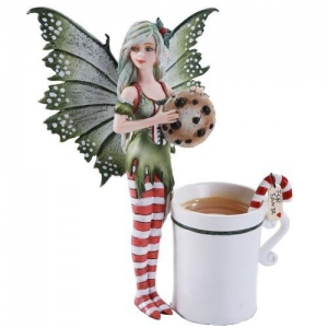 China Amy Brown Chocolate Cookie and Candy Cane Tea Cup Christmas Fairy on sale