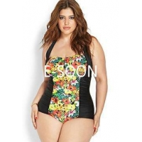 PLUS size swimwear big lady swim AOP flower beachwear UPF 50