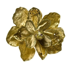 China Artificial Flowers & Sprays Gold Magnolia Flower On Clip - 16cm on sale