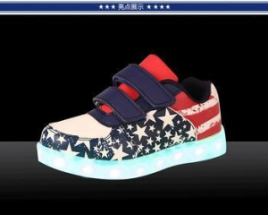 China 2017 new style america flag led shoes,high quality kids led flash shoes with charge by USB on sale