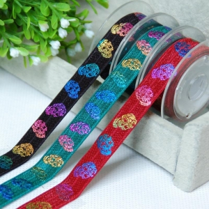 China foil gold print customized logo polyester elastic ribbon for gift packing ribbon on sale