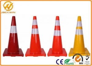 China Orange / Yellow 28 Safety Cones , Flexible PVC Traffic Reflective Coloured Traffic Cones on sale