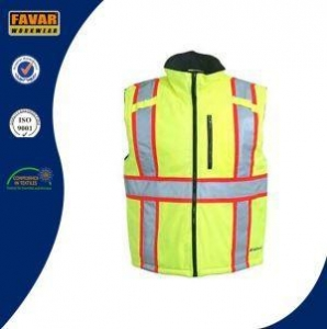 China Polyester Winter Insulated Waterproof Yellow Traffic Safety Vest on sale