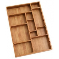 China Durable Bamboo Tray Drawer Organizer For Utensils Cutlery on sale