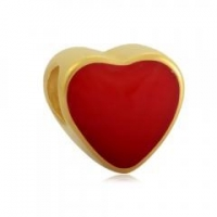 China Wholesale Stainless Steel Gold Plated Enamel Heart Emoji European Beads on sale