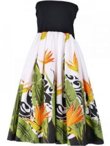 China Hula Tube Top Dress with Bird of Paradise print / White / G1817w on sale