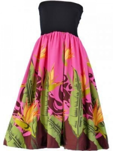 China Hula Tube Top Dress with Bird of Paradise print / Pink / G1817pi on sale