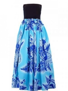 China Tube Top Dress with botanical print / Black & Blue / G1672bl on sale