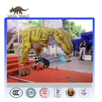 Amusement park walking with dinosaur costume