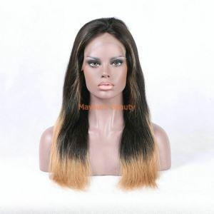China Long Black and Blonde Coloured Ombre Full Lace Human Hair Wigs FL06 on sale