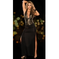 Sexy Lingerie low neck women slit dress full length long dress