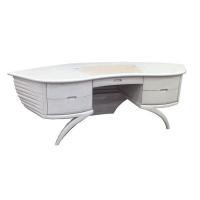 Oak Walnut Color Wood Desk with Elegant Design in Study Room