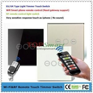 China 3 Gang 1 Load Smart Phone APP Wifi Remote Control or RF Remote Control Touch Light Timmer Switch on sale