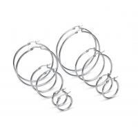 FIBO STEEL 6 Pairs Stainless Steel Hypoallergenic Hoop Earrings for Men Women Earrings Set 15-60mm