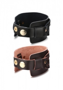 China FIBO STEEL Mens Women Leather Bracelet Cuff Bangle Punk Biker Adjustable 8.5-9.1 inches on sale