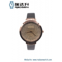 Women Watches New Rose Gold Women Watches with Gold Crystal Powder on Dial